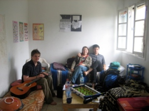 Our hosts Fraser, Erin, and Cameron chilling on their Moroccan-style couches